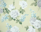 1940s Vintage Wallpaper by the Yard - White and Gray Roses with Blue Lilacs on Yellow, Floral Wallpaper
