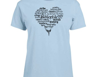 Ladies T-shirt Bibliophile Book Lover Bookworm Heart Art Sizes XS-2X