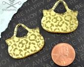 GOLD LEOPARD PURSE Cabochon in Gold Mirror Laser Cut Acrylic