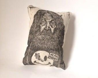 Pillow, Art, Alan Moore Hand Printed Novelty Linen Pillow, Fiber Art