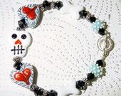 Day of the Dead Halloween Lampwork Bracelet