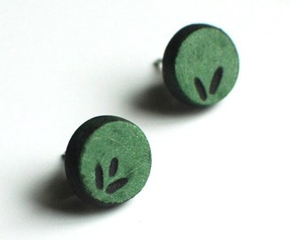 Round, green, fern, green earrings