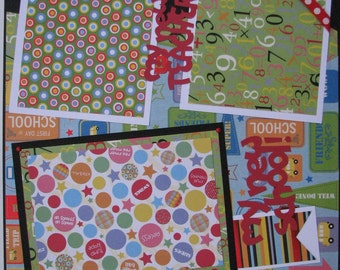 My New School...TWO completed 12x12 Premade Scrapbook pages