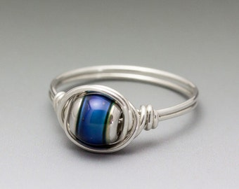 Color Changing Mirage Mood Bead Sterling Silver Wire Wrap Ring ANY size