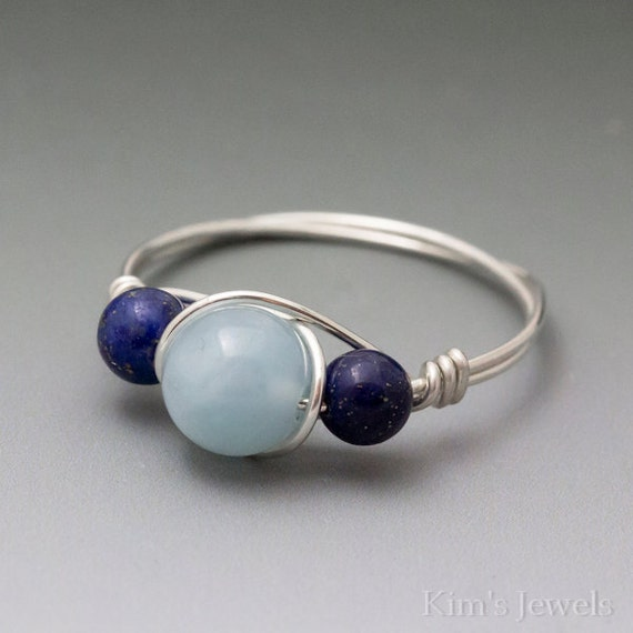 Aquamarine & Lapis Lazuli Sterling Silver Wire Wrapped Ring ANY size