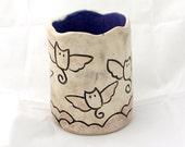 Carved Ceramic Vase, Lavender, Cream and Black Stoneware Cup, Pencil Holder, Bud Vase