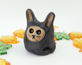 Handpainted Ceramic Bunny, Little Grey Rabbit Totem Figurine