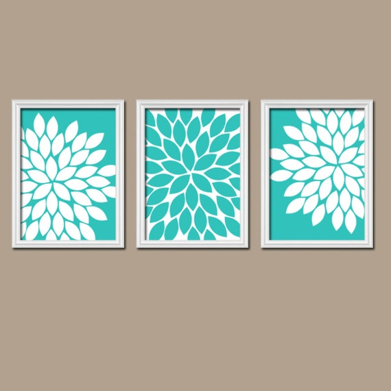 Turquoise wall art canvas or prints bathroom artwork for Turquoise wall decor