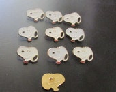 vintage snoopy head buttons set of 10