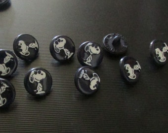 vintage snoopy black buttons set of 10