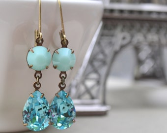 Mint and Turquoise Estate Earrings, Swarovski Crystals, Antiqued Brass, Beach Wedding, Bridesmaid Earring, Gift for Her