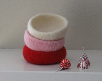 Felted Mini Bowls - Set of 3 - Made-to-Order - Valentine's Day Special