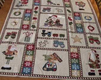 Large Flannel Quilted Santa Table Cloth
