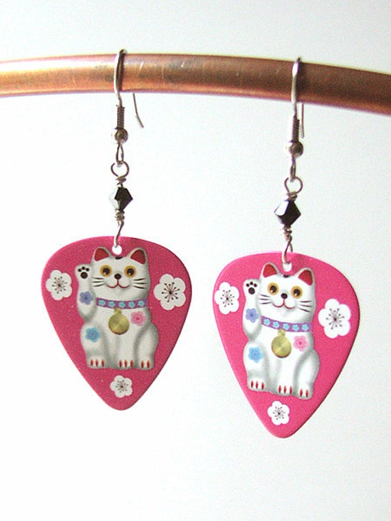 Maneki Neko Guitar Pick Earrings kitty lucky fortune cat Kawaii cute fun funky stocking stuffers party favors shower gifts waving