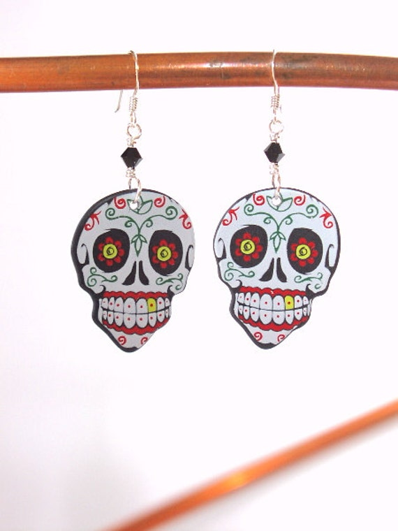 Day of the Dead Guitar Pick Earrings sugar skull dia de los muertos Halloween flowers calavera skeleton party favor stocking stuffers gift