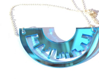 Sky Blue Necklace Skyline Laser Cut Mirror Acrylic Perspex on Sterling Silver Chain London New York Inspired