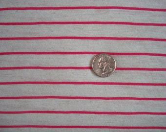 STRIPES Hot pink and oatmeal cotton blend knit stripe 1 YD