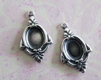 NEW 2 Silver 6mm x 8mm Drop Charms 3489