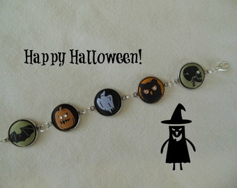 Halloween Fabric Button Bracelet - Silvertone