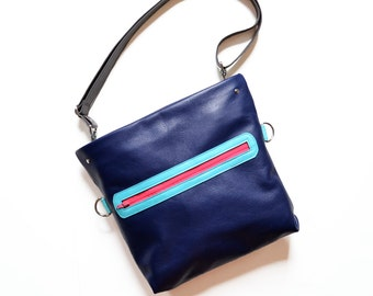 Leather Satchel / Leather Crossbody Bag / Crossbody Purse / Leather Bag / Shoulder Bag / Adjustable Strap  - The Abby Satchel in Royal Blue