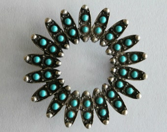 Vintage silver and turquoise slide buckle 42mm