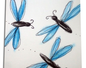 Dragonfly Art / Children's Bug Canvas / Boys / Girls Nursery Decor