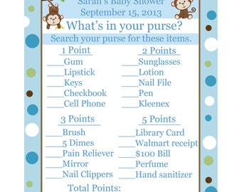 24 Baby Shower Game Cards  Whats In Your Purse Game - Little Monkey