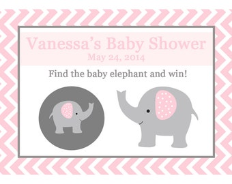 104 Personalized Baby Shower Scratch Off Game Cards -  ELEPHANT - PINK