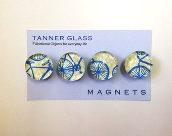 Deconstructed Bicycle- Glass magnets - Set of 4 - NEW