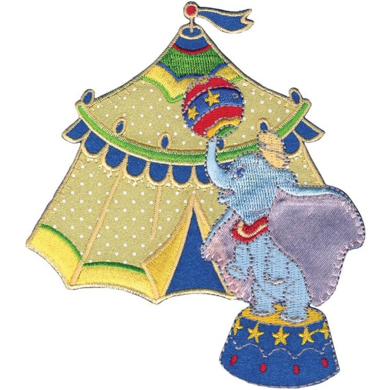 Items similar to disney dumbo with tent iron on applique
