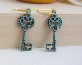 Vintage Style Patina Skeleton Key Earrings, Shabby Chic Rustic Key Ear Jewelry. 14K Gold Filled Earwire