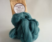 Teal blue merino roving, 25g (1oz) Northern Sea, 21 micron, merino roving, merino tops, felting wool, needle felt wool, wet felting wool