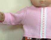 Bitty or Twin Doll Clothes - Pink Flowered Corduroy Pants and Pink Sweater