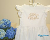 White Linen Flutter Sleeve Dress for Girls Toddlers Youth Monogrammed for Beach and Wedding