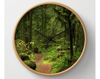 Woodland Path Clock Forest Beauty Woodland Scene Forest Wall Clock Green Moss Rainforest Woodland Path Serene Zen