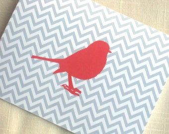 Red Bird Note Cards - Set of 8 - Gray Chevron Note Cards
