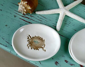Bird's Nest and Eggs on Small Oval Dish, Oval Ring Dish with Bird's Nest and Blue Eggs, Trinket Dish with Bird Nest