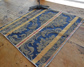 Large Brocade Placement In Shades of Blue, Cream And Red In Colonial Stripe Design