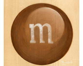 Tan and Blue M&M (Fine Art Print not real candy)