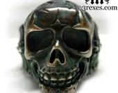 Mens Skull Ring Rustic Brass Biker Band Size 13
