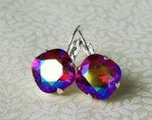 50 0/0 OFF use COUPON Hopeful Heart Fuchsia Swarovski Crystal Rhinestone Earrings, Tennis Style Leverback