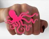 Octopus Ring - Neon Hot Pink Octopus Ring - Laser Cut Acrylic - Nautical Statement Ring