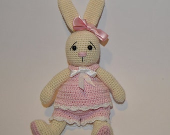 Instant Download - PDF Crochet Pattern -  Bunny with Outfits - dress and pants