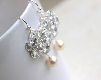 Bridal Earrings Swarovski Pearl CZ Sterling Silver Chandelier AE1