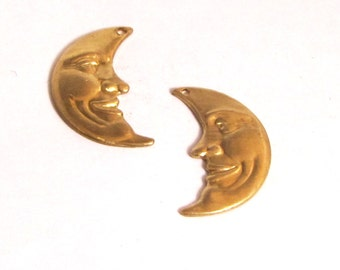Moon Face, Brass moon Charms, Luna  moon, crescent moon, very detailed 1 x .50 inch man in the moon 6 R and 6 L