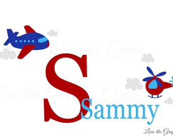 Airplane Wall Decal Childs Name and Initial • Plane Wall Decal Monogram • Helicopter Monogram Wall Decal • Airplane Theme Boy Room Nursery