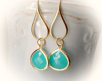 Earrings in gold mint seafoam green drop earrings gold framed faceted elegant fancy dangle earrings for women girl sea foam blue opal gold