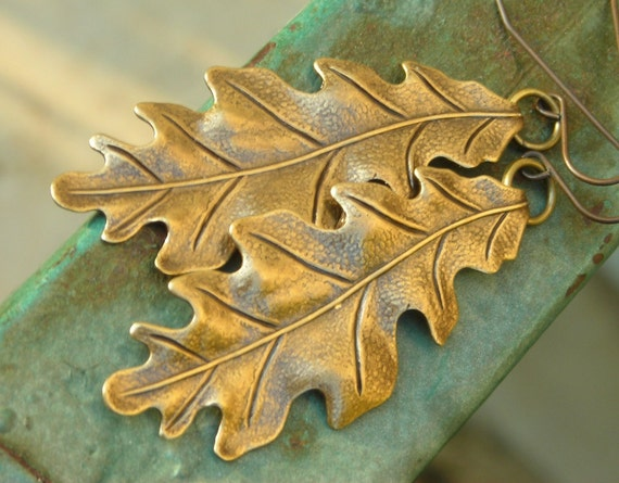 White Oak Leaf, long handmade brass earrings, inspired by nature, winter forest tree leaves, dark oxidized patina woodland, hand crafted
