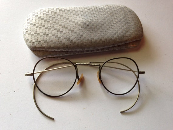 Glasses Frames Earpiece : Pair of Vintage Gold Eyeglasses/Spectacles with Loop Earpieces
