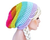 Pastel Rainbow Beanie - Slouch - Mens or Unisex- Ultimate Slacker Striped Beanie Hat